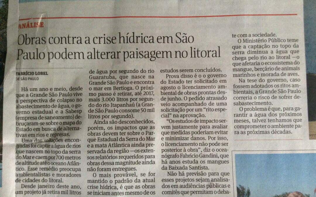 Obras contra a crise hídrica em São Paulo podem alterar paisagem do litoral – Folha de SP